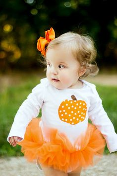 Polka Dot Pumpkin Baby Girl Tutu Bodysuit - Fall Halloween Thanksgiving Pumpkin Costume -