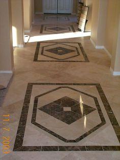 Diagonal Travertine Floor with Custom Cut Inlays Murrieta CA Home Tiles Design, Floor Design, Ceiling Design, Travertine Floors, Stone Flooring, Foyer Flooring, House Design Pictures, House Tiles, Decoration
