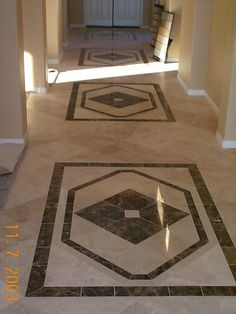 Diagonal Travertine Floor with Custom Cut Inlays Murrieta CA  http://www.hamiltontileandstone.com/
