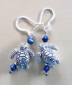 Sea Turtle & Blue Crystal Earrings by TurtleGirlJewels on Etsy