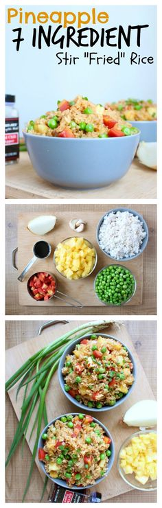 THE EASIEST 7 Ingredient Pineapple Stir Fried Rice. I can't stop making this meal. It's just too easy and it's perfect for those times when I want to eat ASAP! Plus it doesn't use oil like most fried rice dishes, is Vegan and Gluten-Free and is full of v Rice Recipes, Asian Recipes, Whole Food Recipes, Vegetarian Recipes, Healthy Recipes, Baby Recipes, Delicious Recipes, Vegan Dishes, Vegan Foods