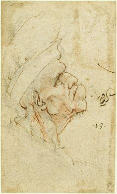 Leonardo da Vinci (Vinci 1452-Amboise 1519) Creation Date: c.1490-95 A grotesque old man in profile   #TuscanyAgriturismoGiratola