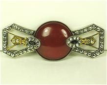 Vintage French Art Deco Carnelian and Rhinestone Pin