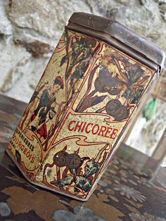 Rare 1920s French Chicory Tin Box Collectible