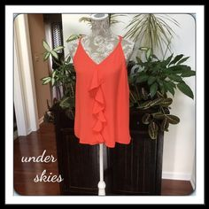 #269  UNDER SKIES CORAL TOP Like new!  Lovely coral sleeveless top with front ruffles.  Rayon/Viscose. Under Skies  Tops