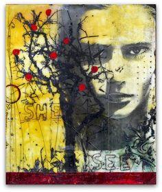 "Encaustic Art, Susan Ukkola, She See, encaustic image transfer 12"" x 16"""