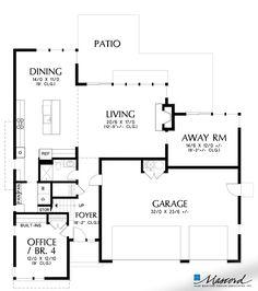 Main Floor Plan of Mascord Plan 22180B - The Waterbury - Organic Design with Lots of Light