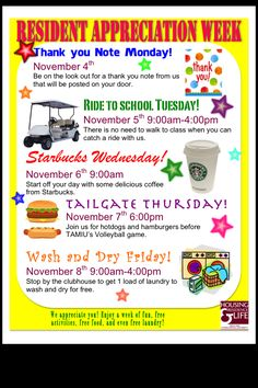 Like The Free Load And Tail Gate Idea Resident Reciation Week Flyer