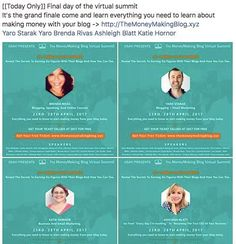 [[Today Only]] Final day of the virtual summit It's the grand finale come and learn everything you need to learn about making money with your blog -> http://ift.tt/2mD4wa7 @yarostarak @mompreneuronfire @katiehornor @thesoulhappylife_ #linkinbio