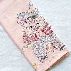 Embroidery vintage cat