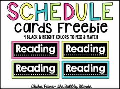 This freebie includes black & bright schedule cards to use in your classroom! I will be using this set along side my black & bright decor items. This set includes each card in 4 different colors to allow you to mix and match as you need:) If you are like me, you want the pattern to go in order!Cards included:-breakfast-bellwork-morning work-writers' workshop-reading-writing-lunch-science-social studies-math-specials-recess-art-music-computers-library-P.E.-D.E.A.R-daily 5-handwritin...