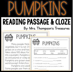 One page informational passage about pumpkins and a cloze style (fill in the correct word from the box) comprehension page.