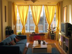 Decorations Modern Delightful Red Curtains Living Room Design With Interior Contemporary Curtain For Gorgeous With Warm Yellow Color Idea Modern Ikea Inter And Be Equipped Beige Wall Gray Sofa Wood Table Gray Carpet Television Cabinet Wall Glass Awesome Red Curtains Living Room, Family Room Curtains, Living Room Windows, Living Room Colors, Small Living Rooms, New Living Room, Living Room Modern, Living Room Interior, Living Room Designs