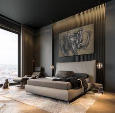 home Interior Dark - Modern Dark Interior Design. Modern Bedroom Design, Master Bedroom Design, Contemporary Bedroom, Modern House Design, Home Decor Bedroom, Modern Interior Design, Interior Ideas, Bedroom Ideas, Bedroom Furniture