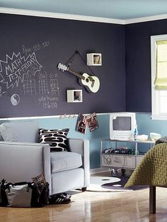 Everyone Will Love chalkboard paint on the top portion of two walls with a bright color underneath.