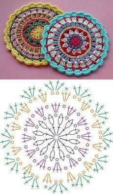 Transcendent Crochet a Solid Granny Square Ideas. Inconceivable Crochet a Solid Granny Square Ideas. Motif Mandala Crochet, Crochet Doily Diagram, Crochet Chart, Crochet Doilies, Crochet Flowers, Crochet Stitches, Mandala Rug, Crochet Edgings, Point Granny Au Crochet
