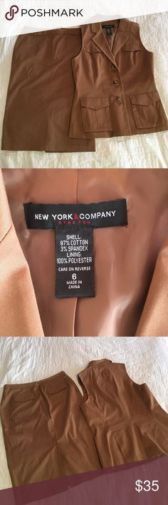 Vest/skirt suit by New York & Company, stretch Vest/skirt suit new but no tags never been worn size 6 by New York & Company it's absolutely stunning ! Also bundle and save , check out my closet ☀️❤️ New York & Company Dresses