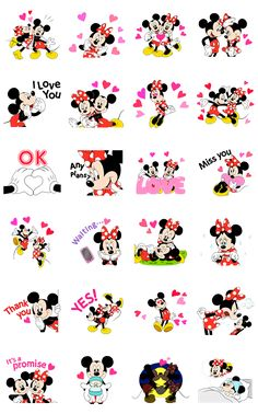 Express your love with Mickey and Minnie Mouse animated stickers! Feeling too shy to express your feelings? These stickers are perfect for telling that special someone how you really feel!
