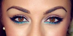 For brown eyes... Lilac shadow, liquid liner wing and teal eyeliner under bottom lashes