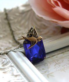 Adela  An Octagon Sapphire Dark Blue Vintage Glass by Marolsha, $22.50