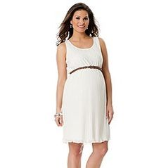 White Belted Baby Shower Dress