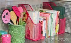 magazine boxes for organizing magazines in the kitchen! Genius!