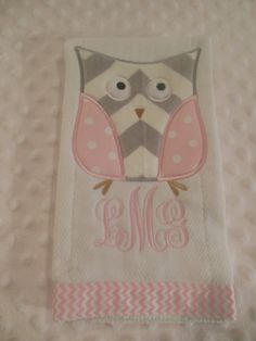Pink and Gray Chevron Owl Burp Cloth by TWINSANDQUINN on Etsy, $10.00