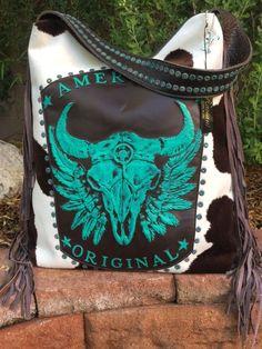 Raviani Western Leather Handbag Purse w/ Turquoise TEXAS Longhorn Skull & Fringe #Raviani #ShoulderBag