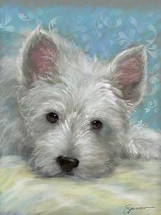 PRINT Westie, West Highland Terrier puppy dog nursery art painting Mary Sparrow