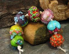 WOW! Bollywood Chunkies Devamati Lampwork Bead Set by Amy Kuczewski of Torch By Night Lampwork