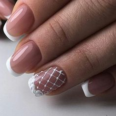 Manicure Nail Designs, Manicure And Pedicure, Nail Art Designs, Lace Wedding Nails, Wedding Nails Design, Pretty Nail Colors, Pretty Nails, French Nails, Hot Nails