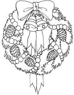 Christmas Coloring pages colouring adult detailed advanced printable Kleuren voor volwassenen coloriage pour adulte anti-stress kleurplaat voor volwassenen Line Art Black and White Santa Noel Peace Gift decoration Toy  Present Elf Ornament Candy Joy Carol Stocking Family Christmas Wreath