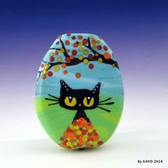 """LOVER OF LEAVES"" byKAYO a Handmade FALL CAT Lampwork Art Glass Focal Bead SRA #Lampwork"