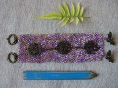 Purple and Gold Chain Seed Bead Woven Bracelet by BlackFoxMT on Etsy