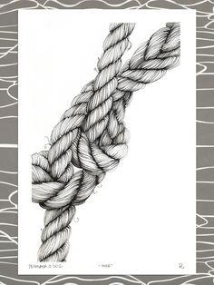 "Original Illustration, ""moor,"" nautical knotted rope, mooring lines. Brianna Reagan"