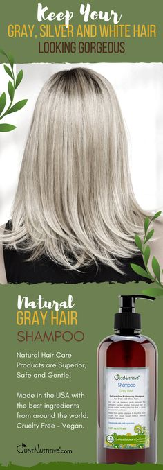 Sulfate-free Nutritive Brightening Shampoo for Gray and Silver Hair. This gray hair shampoo gently removes the yellowing buildup residue from your hair to reveal radiant healthy fuller hair that is more manageable and softer. Shampoo For Gray Hair, Natural Hair Shampoo, Natural Hair Care, Natural Hair Styles, Baby Hair Loss, Oil For Hair Loss, Grey Hair Care, Hair Loss Remedies, About Hair