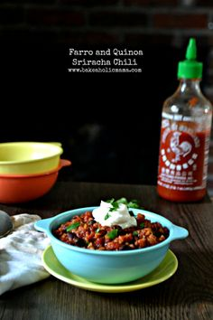 Farro and Quinoa Sriracha Chili - Bakeaholic Mama. I wonder if this would be good with pumpkin added? ;) Pumpkin everything is a must this time of year.