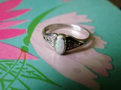 Vintage Sterling Silver Genuine Opal Ring Size by dazzledbyvintage