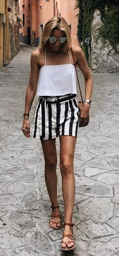 8cd51ae5e White Tank + Striped Short + Brown Sandals // Shop this Outfit In The Link