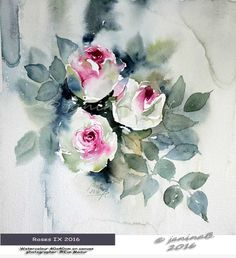 Roses IX 2016 / Watercolour 40x40cm on canvas © janinaB. 2016 photographer: ©Eve Mazur / nicht verfügbar