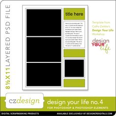 Design Your Life Layered Template No. 04 - Digital Scrapbooking Templates - Cathy Zielske
