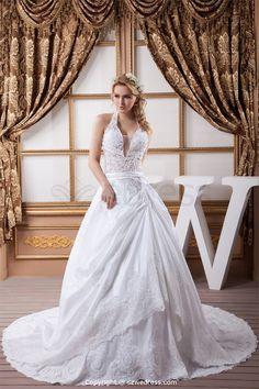 A-Line Halter Court Train Satin Summer Wedding Dresses