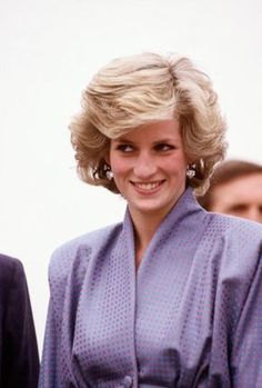 Diana Princess of Wales watches a display of Tornado jet fighters at an air base outside Milan Italy in April 1985 during the Royal Tour of Italy...