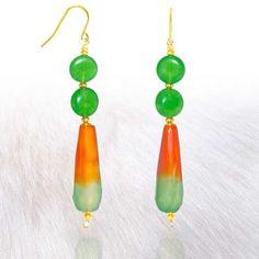 Green Fire Agate and Jadeite Jade Earrings - Mar 2018 Jade Earrings, Drop Earrings, Green Fire, Stone Jewelry, Spring Time, Agate, Sparkle, Jewels, Gemstones