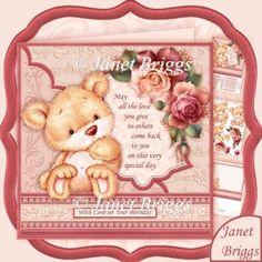 Bear with Roses & Verse 8x8 Decoupage & Insert Mini Kit