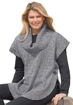 Woman Within Women's Poncho Style with Cowl Neck Sweater