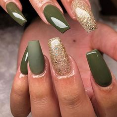 Most Beautiful Fall Nail Designs 2019 Shiny olive & matte olive green nails with an accent gold glitter nail . - Most Beautiful Fall Nail Designs 2019 Shiny olive & matte olive green nails with an accent gold glitter nail for Fall 2019 - Matte Olive Green Nails, Olive Nails, Burgundy Nails, Gorgeous Nails, Pretty Nails, Cute Nails, Popular Nail Colors, Fall Nail Colors, Matte Nail Colors