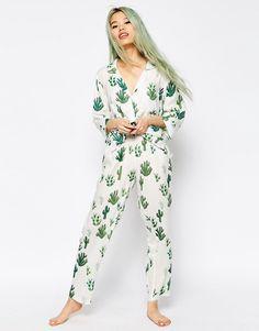 Image 1 ofASOS Cactus Traditional Shirt & Long Leg Pyjama Set