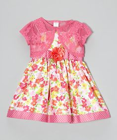 Look what I found on #zulily! Pink & Orange Floral Dress & Shrug - Toddler by Youngland #zulilyfinds