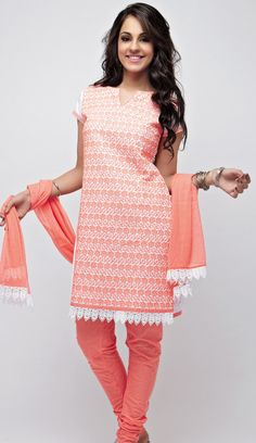 This coral embroidered salwar kurta is sure to get you fall for it! class! check here-  http://shopnaari.com/products/white-cotton-with-coral-embroidery-unstitched-kurta-set